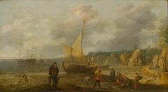 Zeegezicht met rotsachtige kust, vissers en schepen