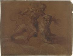 Zittende Jupiter op een leeuw, op wolken