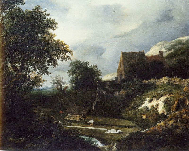 A Bleaching Ground in a Hollow by a Cottage