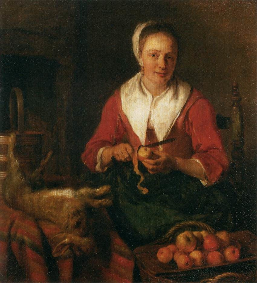 A Girl Peeling an Apple