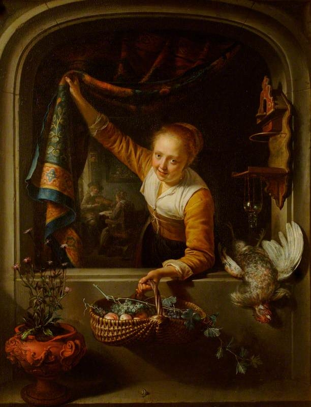 A Girl with a Basket of Fruit at a Window