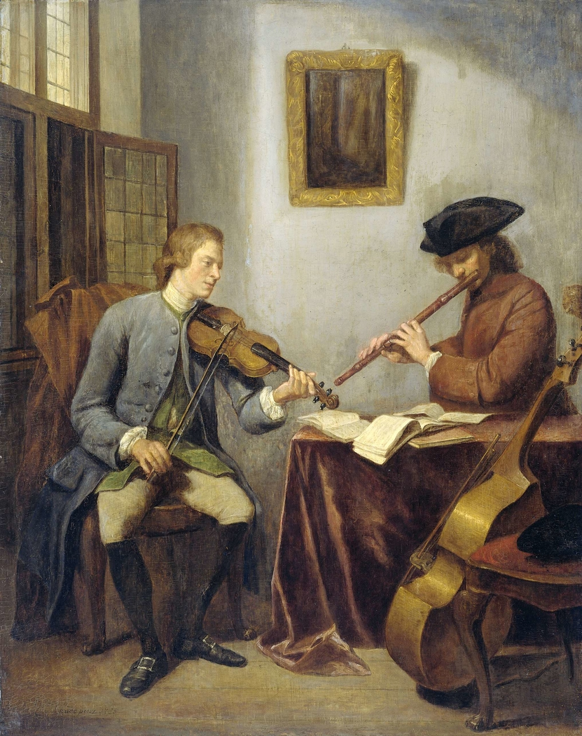 A Violinist and a Flutist Playing Music together (The Musicians)