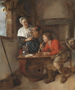 A Young Woman Pouring Beer and a Young Man Smoking