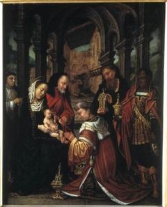 Aanbidding der koningen met stichter-kanunnik