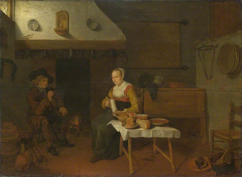 An Interior, with a Man and a Woman seated by a Fire