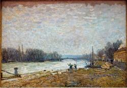Après la débâcle, la Seine au pont de Suresnes