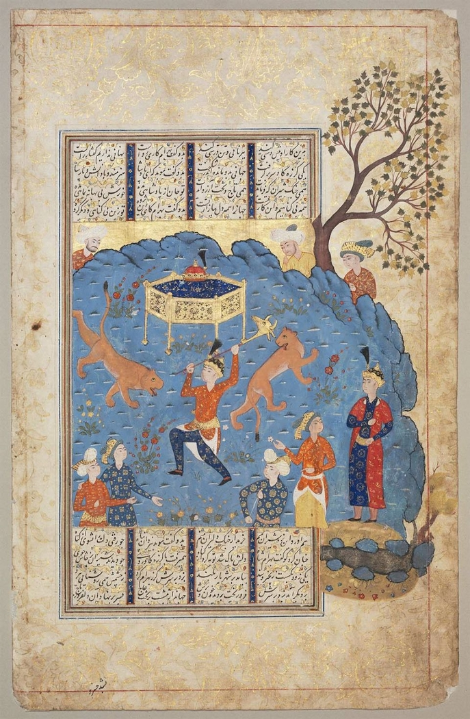 Bahram Gur fights two lions to win the throne (Boston MFA 28.127)
