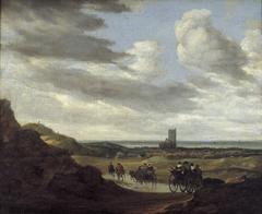 Duinlandschap met reizigers bij Egmond aan Zee