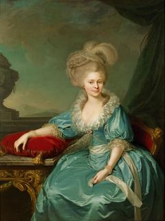 Elisabeth Wilhelmine von Württemberg (1767-1790), 1. Gemahlin von Franz II. (I.), an einem Tisch sitzend, Kniestück