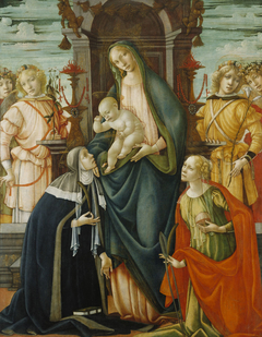 Enthroned Madonna and Christ Child with Angels, Saints Paula and Agatha