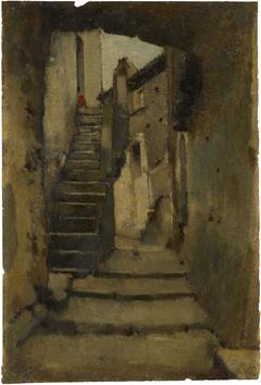 Escalier dans une ruelle à Rome