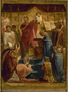 Esquisse pour l'église Saint-Eustache : (La Foi) Consécration de la Ste Chapelle, St Louis offre la couronne d'épines.
