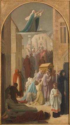 Esquisse pour l'église Saint-Sulpice : Le miracle des Ardents - Procession de la châsse de sainte Geneviève