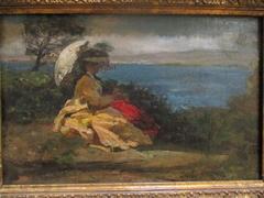 Femme à l'ombrelle, baie de Douarnenez