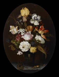 Flower Still Life in a Glass Vase