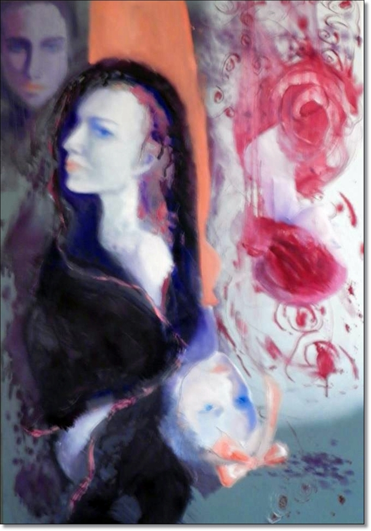 FOUR CONFUSED WOMEN, year 2011, oil canvas, cm. 80 x 100 by Anna Zygmunt
