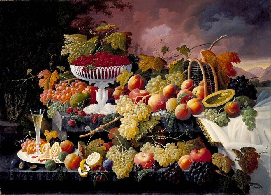 Fruit Still Life in a Landscape