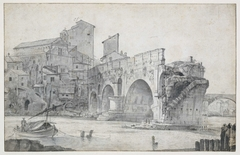 Gezicht op de Ponte Rotto en Trastevere
