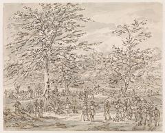 Gezicht op een legerplaats tussen bomen