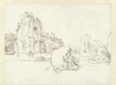 Gezicht op een ruïne, in het midden een rotsblok
