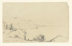 Gezicht op Salerno en Vietri, op de voorgrond een weg langs het meer