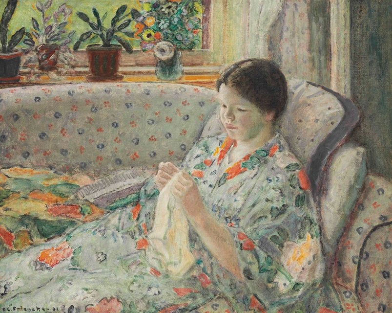 Girl Sewing (The Chinese Robe)