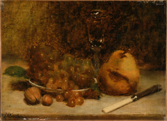 Grapes, Knife and Glass