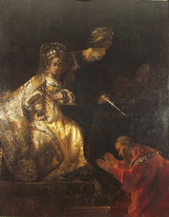 Haman begs Esther for his life (Esther 7:7-9)