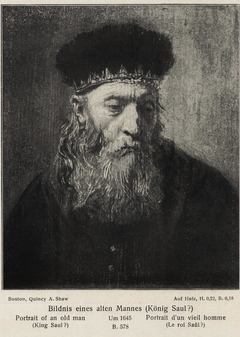 Head of a Bearded Man, Study for King Saul?