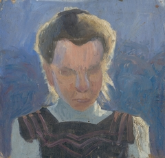 Head Study of a Girl on a Blue Background