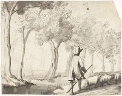 Herder en zijn kudde lopend op een pad langs bomen