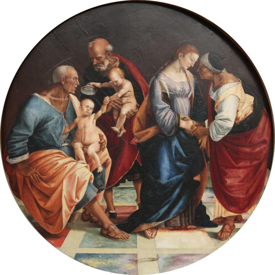 Holy family with saints Zachary, Elizabeth and little John