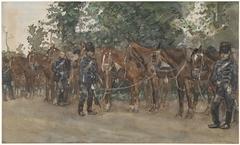 Huzaren staande naast hun paarden langs de kant van de weg
