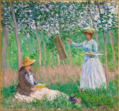 In the Woods at Giverny: Blanche Hoschedé at Her Easel with Suzanne Hoschedé Reading
