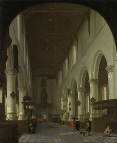 Interior of the Oude Kerk in Delft from the Choir toward the Portal