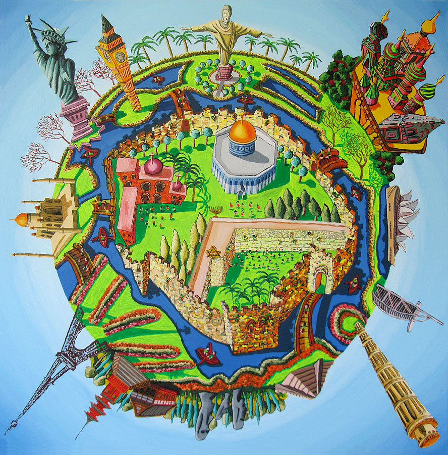 Jerusalem center of the world naive painting raphael perez jerusalem center of the world naive painting gumiabroncs Images