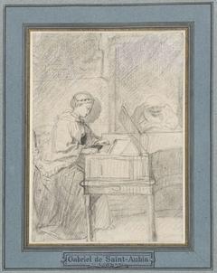 Jonge vrouw aan een clavecimbel