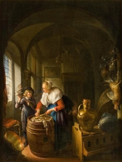 Kitchen scene with a woman and a boy with a mousetrap