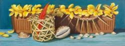 """La Maceta: Wenuke's Lei"" by Lydia Martin© oil on Birch wood panel (12""x26"") / Lotería series"