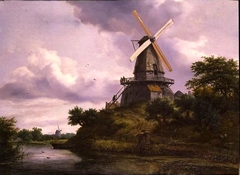 Landscape with a windmill by a river