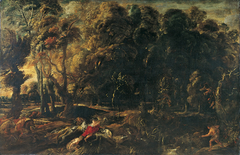 Landscape with Atalanta and Meleager pursuing the Calydonian boar (Ovid, Metamorphoses, VIII, 229-237)