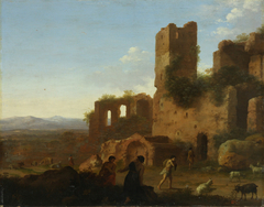 Landscape with figures and ruins
