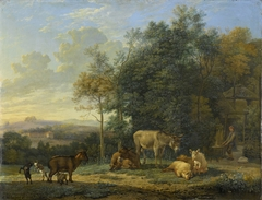 Landscape with Two Donkeys, Goats and Pigs