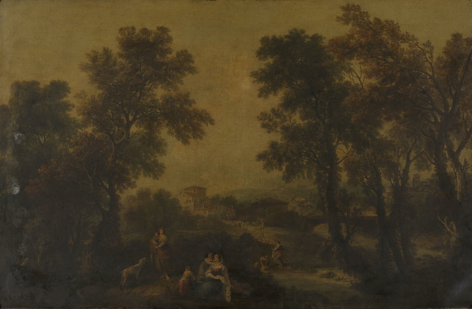 Landscape with Women and Children and a Dog