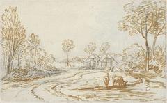 Landschap met herders en vee, met op de achtergrond twee huizen