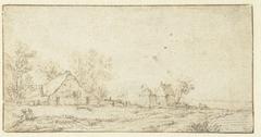 Landschap met hutjes aan een weg