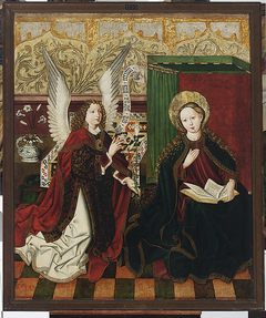 Legnica polyptych - left wing internal - upper panel - obverse: Annunciation; reverse: St Lawrence, St Vincent the Levite. St John the Baptist