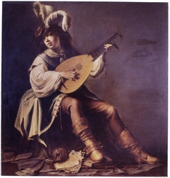Lute player with skull and books