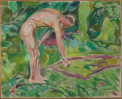 Male Nude Leaning forwards in the Woods