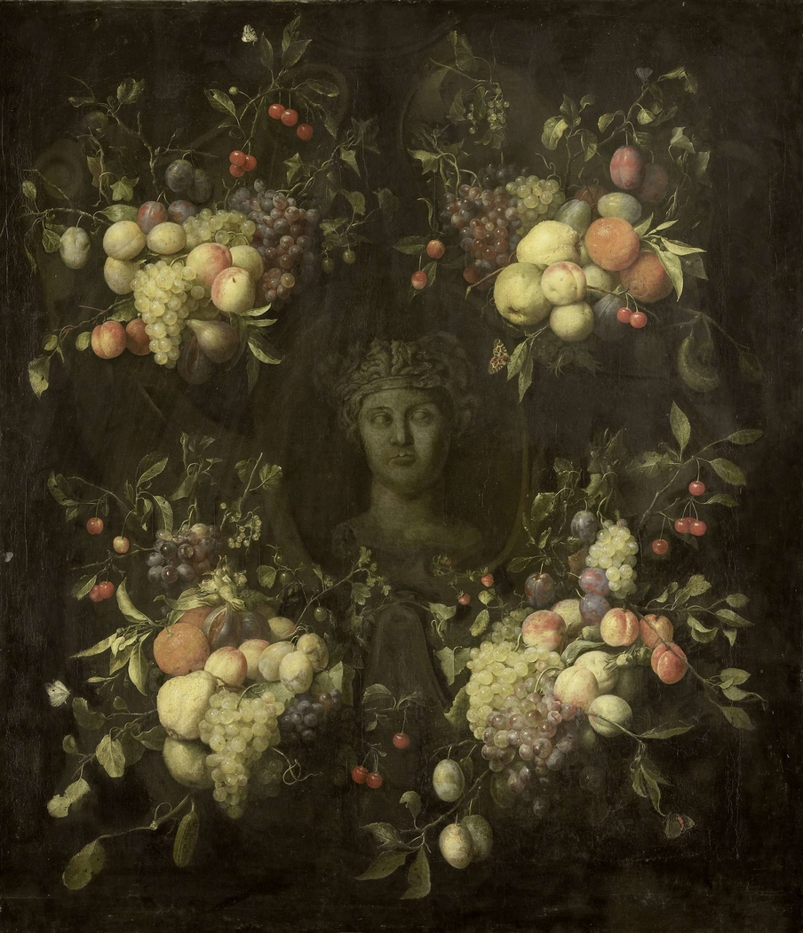 Marble Bust surrounded by a Festoon of Fruit